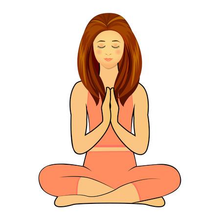 namaste: Woman in Yoga Practice Pose Namaste Concept