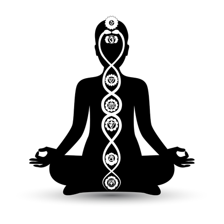 Woman black silhouette in yoga position with the symbols of seven chakras and kundalini energy