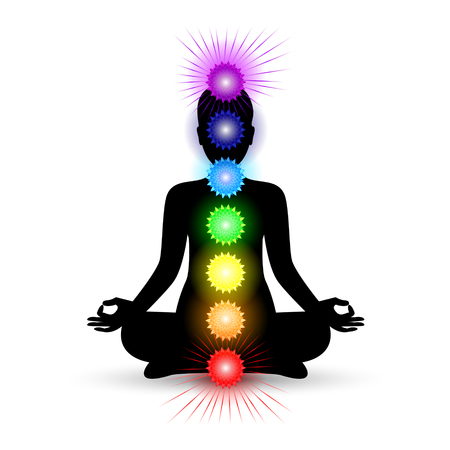 anahata: Woman silhouette in yoga pose with shining chakras