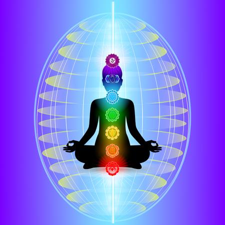 Human aura with seven sparkling chakras, vector