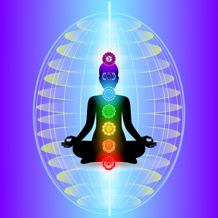 mind body soul: Human aura with seven sparkling chakras, vector