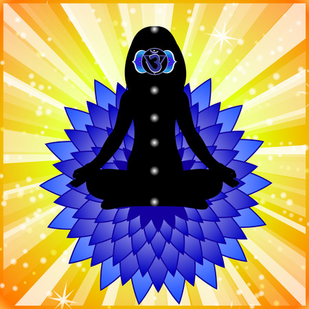 chakra: Meditating women. Ajna chakra activation. Illustration