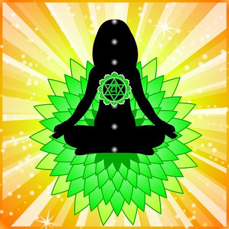 meditating: Meditating women. Anahata chakra activation.