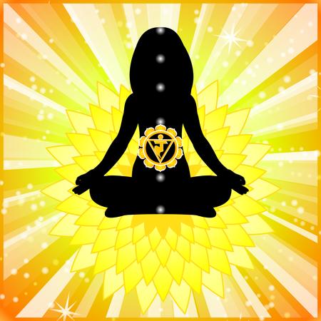 meditating: Meditating women. Manipura chakra activation. Illustration