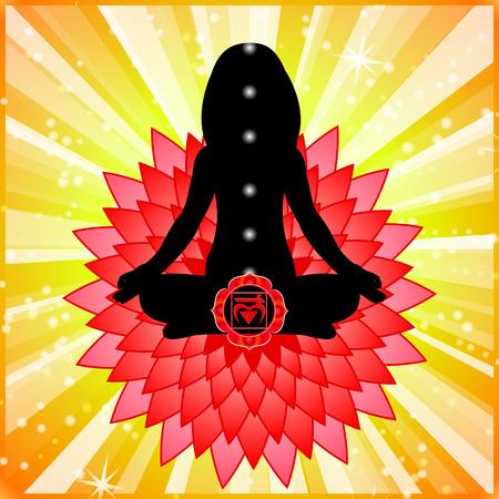 muladhara: Meditating women. Muladhara chakra activation. Illustration