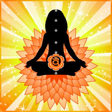Meditating women. Swadhisthana chakra activation. Illustration