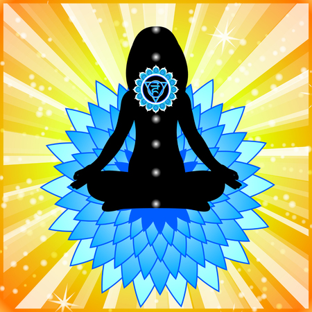 vishuddha: Meditating woman. Vishuddha chakra activation.
