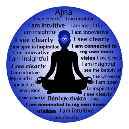 Meditating woman. Ajna chakra affirmation. Zdjęcie Seryjne - 56570014
