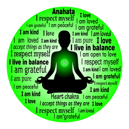 Meditating woman. Anahata chakra affirmation.