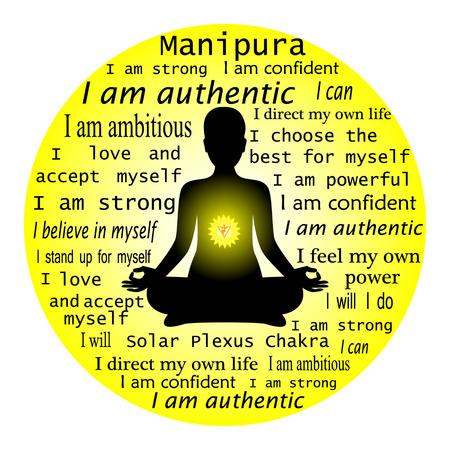 Meditating woman. Anahata chakra affirmation. Imagens - 56569814
