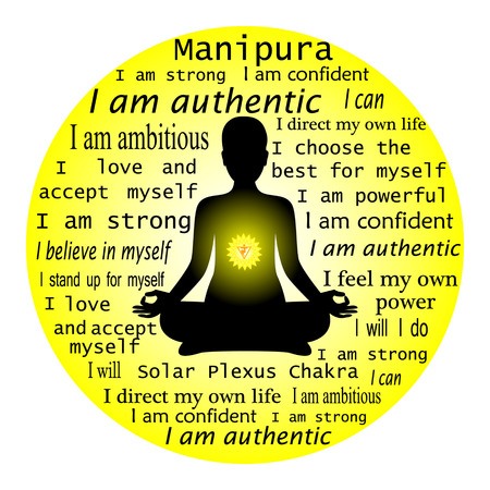 sanskrit: Meditating woman. Anahata chakra affirmation.