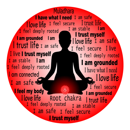Meditating woman. Muladhara chakra affirmation.