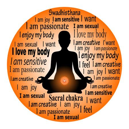 Meditating woman. Swadhisthana chakra affirmation.
