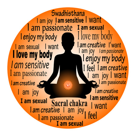 Meditating woman. Swadhisthana chakra affirmation.