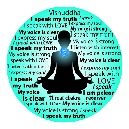 Meditando mujer. Vishuddha chakra afirmación.