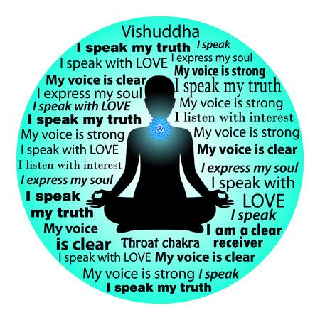 vishuddha: Meditating woman. Vishuddha chakra affirmation.