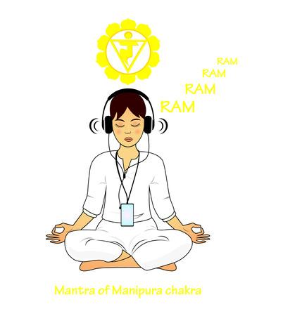 Meditating women. Manipura mantra RAM