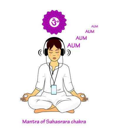 meditating: Meditating women. Sahasrara mantra AUM Illustration