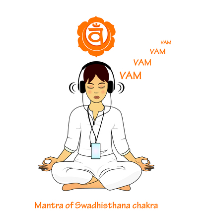 swadhisthana: Meditating women. Swadhisthana mantra VAM Illustration