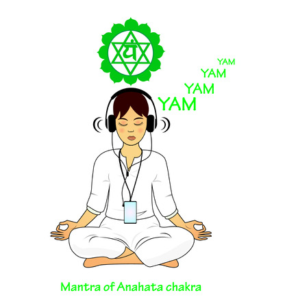 Meditating women. Anahata mantra YAM