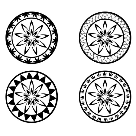 mongoloid: Set of four black and white round ornaments