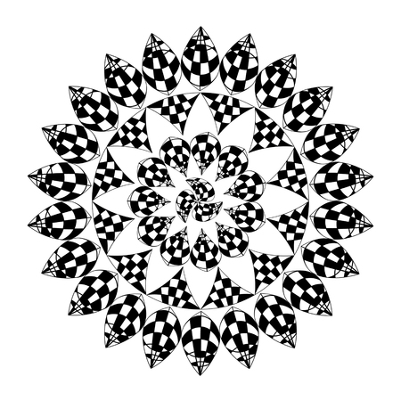 art and craft: Mosaic kaleidoscope ornament black and white colors Illustration