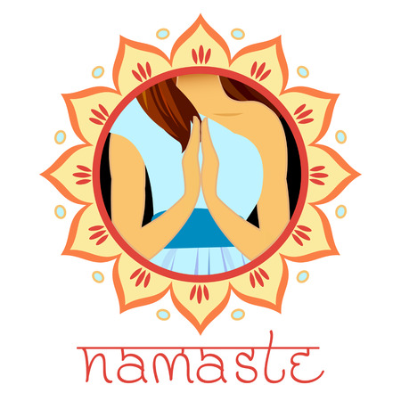 Welcome gesture of hands of Indian woman character in Namaste mudra, banner