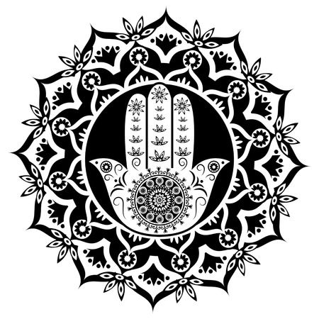 black luck: Hamsa or hand of Fatima black and white style, good luck charm, vector illustration Illustration