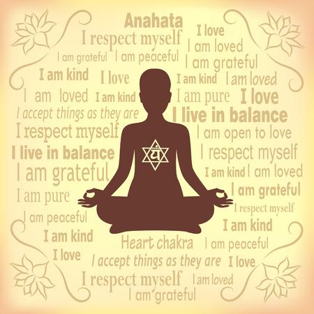 Meditating woman. Anahata chakra affirmation.
