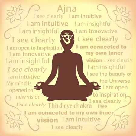 ajna: Meditating woman. Ajna chakra affirmation.