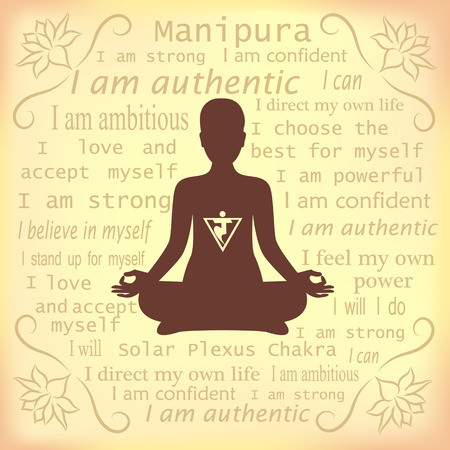 manipura: Meditating woman. Manipura chakra affirmation. Illustration