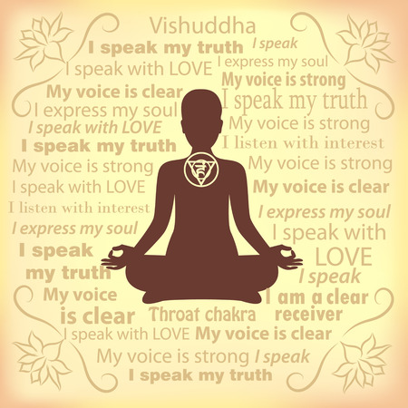 throat chakra: Meditating woman. Vishuddha chakra affirmation.