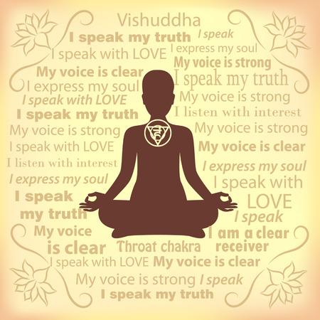 Mediteren vrouw. Vishuddha chakra bevestiging.