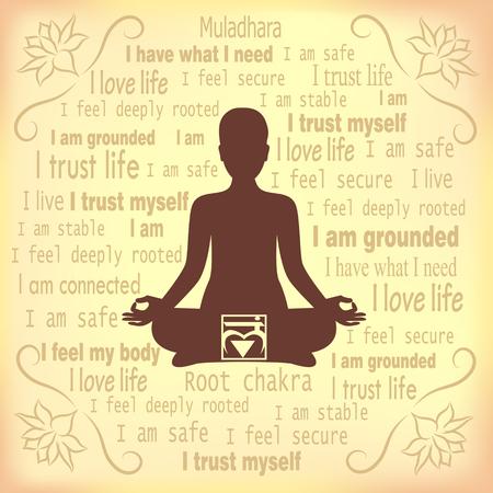 muladhara: Meditating woman. Muladhara chakra affirmation.