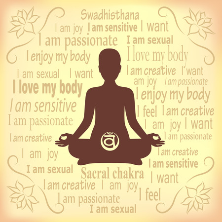 meditating: Meditating woman. Swadhisthana chakra affirmation.