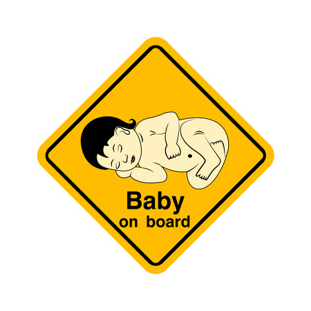 baby on board: Baby on board warning sign yellow