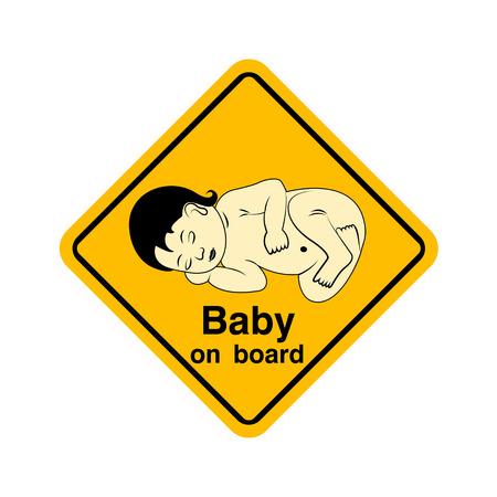 bebe a bordo: Beb� en la advertencia tablero de la muestra amarilla