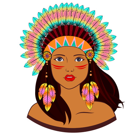 pocahontas: Young woman in costume of American Indian.