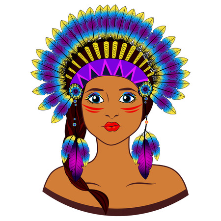 bonnet illustration: Young woman in costume of American Indian.