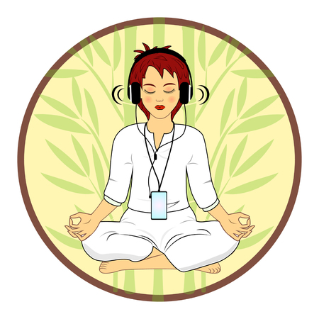 energy healing: Woman in meditating pose hearing relax music