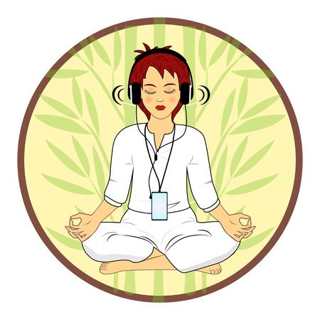reiki: Woman in meditating pose hearing relax music