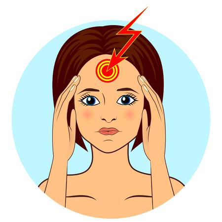woman headache: Beautiful woman suffering from headache, touching her temples Illustration