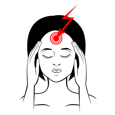 woman headache: Silhouette of suffering from headache woman, touching her temples Illustration