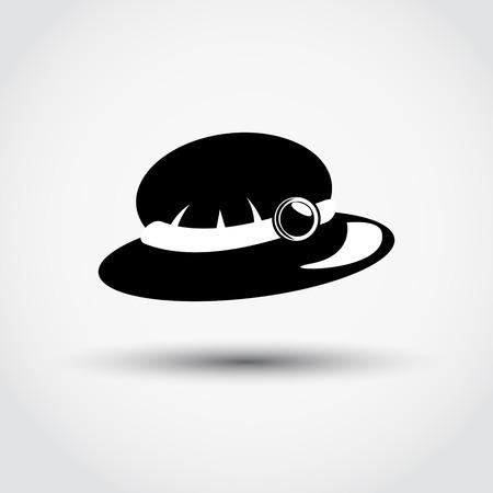 pent: Womens hat icon - black vector illustration