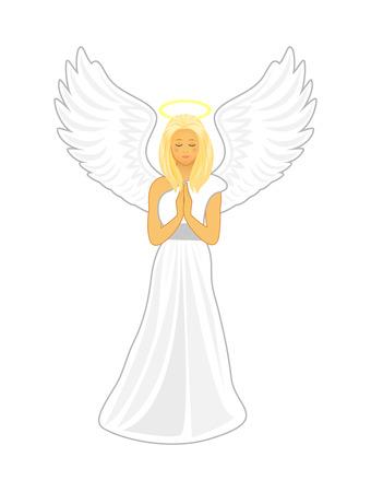 i i  i i toga: imagen de la historieta del vector de un ángel femenino. Ángel con grandes alas blancas y un halo de oro sobre su cabeza. Ángel con los ojos cerrados y las manos juntas en oración. Vectores
