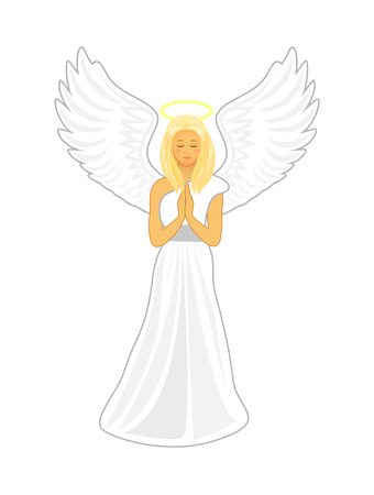Vector cartoon image of a female angel. Angel with big white wings and a golden halo over her head. Angel with eyes closed and hands folded in prayer. Illustration
