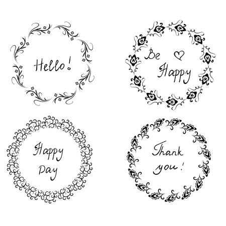 Decorative posters with black floral wreath and black handwritten lettering isolated on white background. Hello. Be happy. Thank you.