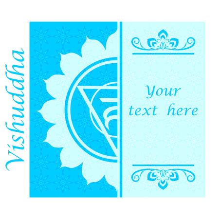 vishuddha: Banner with Half of Vishuddha chakra sign. Template cards, invitations, posters. . Vector illustration.