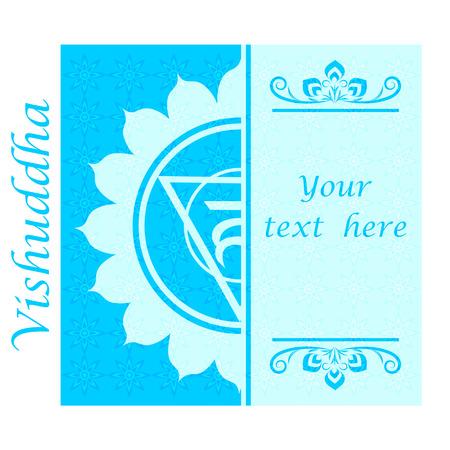 vishuddha: Banner with Half of Vishuddha chakra sign. Template cards, invitations, posters. . Vector illustration.