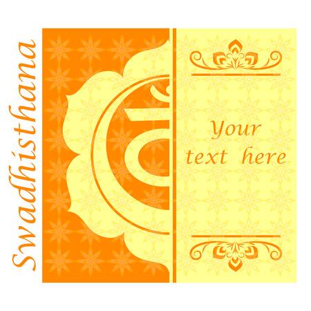swadhisthana: Banner with Half ofSwadhisthana chakra sign. Template cards, invitations, posters. . Vector illustration. Illustration